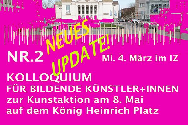 Neuestes UPDATE Kolloquium 2 zur Kunstaktion am 8. Mai Korrektur der Anmeldeadresse: ausstellung8.mai2020@yahoo.com  Kommt zahlreich und klickt für die neuesten Infos aufs Bild!