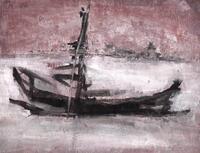 wreck (2020), Tusche, Gouache, Grafit auf Pappe; 16,4 x 22,9 cm, gerahmt