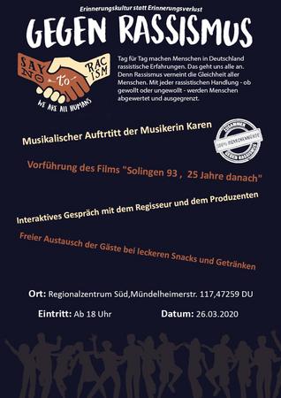 """Gegen Rassismus - Vorführung des Films """"Solingen 93, 25 Jahre danach"""""""