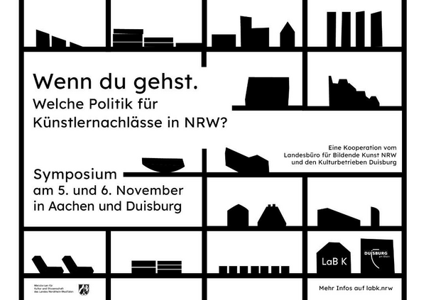 """Am 5. und 6. November findet das zweitägige Symposium """"Wenn du gehst. Welche Politik für Künstlernachlässe in NRW?"""" statt."""
