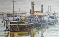 """Das Gemälde """"MUSEUMSSCHIFF OSCAR HUBER"""" im Binnenschifffahrtsmuseum Duisburg"""