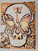 Day of the Dead - Butterfly skull- Lino print