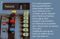Ein Poetomat beim Platzhirsch - kurze Texte gesucht! Bewerbung bis Ende Juni
